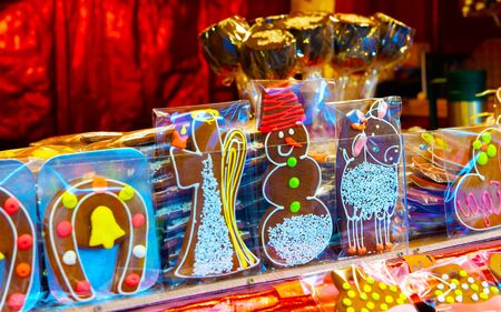 Kiosks with sweets and gingerbread souvenirs reflex