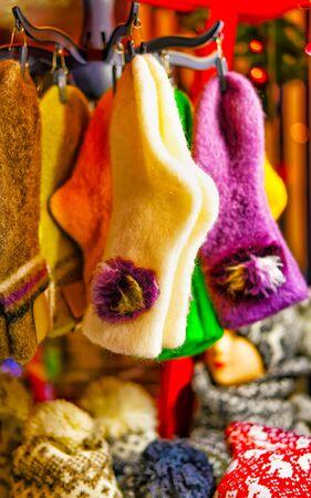 Woolen and warm socks hanging at the Riga Christmas Market reflex Stock fotó