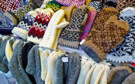 Stall with warm mittens and socks at Riga Christmas Market reflex Stock fotó