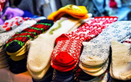 Woolen and warm socks at the Riga Christmas Market reflex