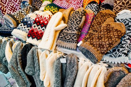 Stall with warm mittens and socks Riga Christmas Market reflex