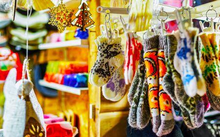 Little woolen socks at the Riga Christmas market reflex Stock fotó