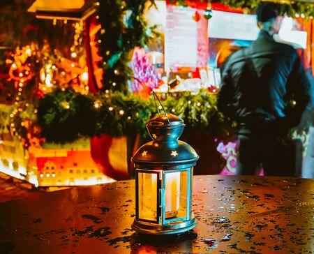 Street lantern on Night Christmas market on Dome Square Riga reflex Stock fotó