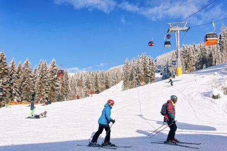 People Skiers skiing Zillertal Arena ski in Austria