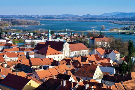 Panoramic view of Ptuj old town and Drava River in Slovenia. Architecture in Slovenija. Travel