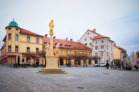 Cityscape with main square in Celje old town of Slovenia. Architecture in Slovenija. Travel Stock fotó