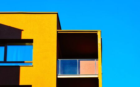 Apartment residential house facade and empty place for copy space reflex