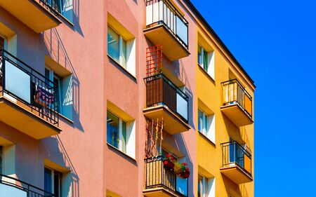Fragment of facade of apartment residential building in Poland reflex Zdjęcie Seryjne