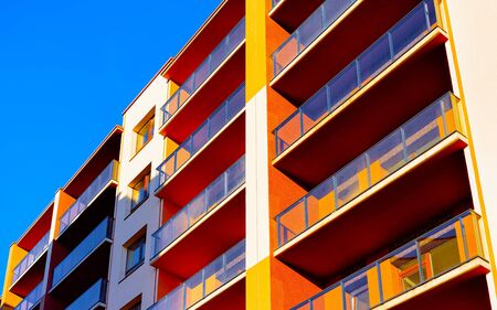 Apartment residential house facade and blank place for copy space reflex