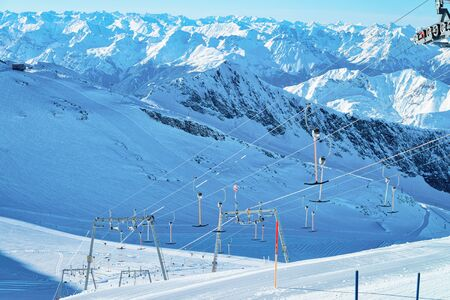 Panoramic view with Lifts on Hintertux Glacier in Austria