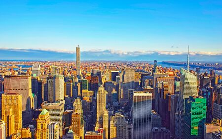 Aerial panoramic view to Downtown Manhattan and Lower Manhattan New York, USA. Skyline with skyscrapers. New Jersey City. American architecture building. Panorama of Metropolis NYC