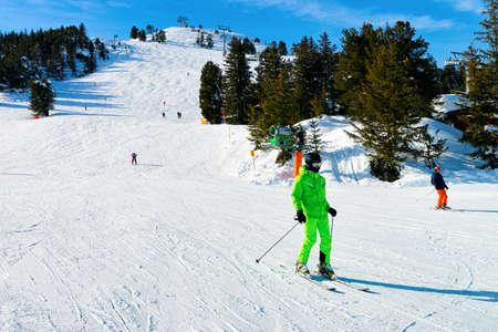 Man Skier skiing at Penken Park in Tyrol in Austria