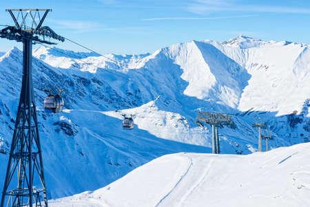 Cable cars on Hintertux Glacier ski resort of Austria