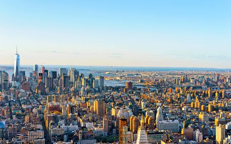 Aerial panoramic view on Skyline with Skyscrapers in Downtown and Lower Manhattan, New York City, America. USA. American architecture building. Panorama of Metropolis NYC. Metropolitan Cityscape