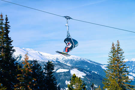 Chair lift on Penken ski resort in Tyrol in Austria