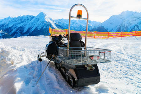 Service Snowmobile at Penken Park ski resort in Austria