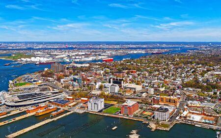 Aerial view of Port Newark in Bayonne reflex 写真素材
