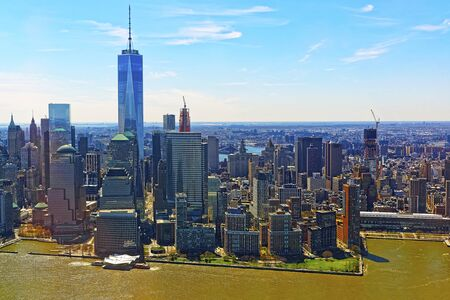 Aerial panoramic view on Skyline with Skyscrapers in Downtown and Lower Manhattan, New York City, America USA. American architecture building. Panorama of Metropolis NYC. Cityscape. Hudson, East River 版權商用圖片