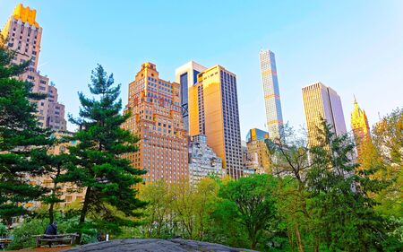 Central park New York West, great design for any purposes. Midtown Manhattan, USA. View with Skyline of Skyscrapers architecture in NYC. Nature background. Urban cityscape. NY, US