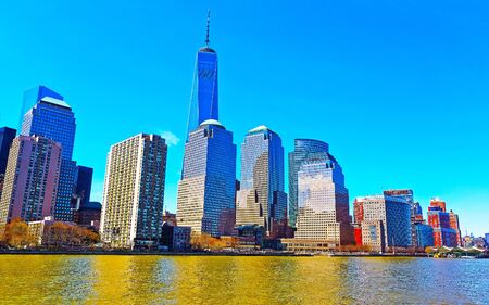 Aerial panoramic view on Skyline with Skyscrapers in Downtown and Lower Manhattan, New York City, America USA. American architecture building. Panorama of Metropolis NYC. Cityscape. Hudson, East River Reklamní fotografie