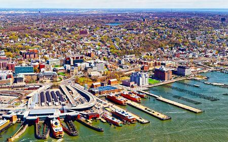Staten Island ferry terminal in USA reflex