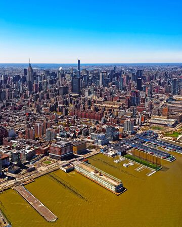 Aerial panoramic view on Skyline with Skyscrapers in Downtown and Lower Manhattan, New York City, America. USA. American architecture building. Panorama of Metropolis NYC. Cityscape. Hudson River Banco de Imagens