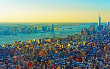 Aerial panoramic view to Downtown Manhattan and Lower Manhattan New York, USA. Skyline with skyscrapers. New Jersey City. American architecture building. Panorama of Metropolis NYC 스톡 콘텐츠