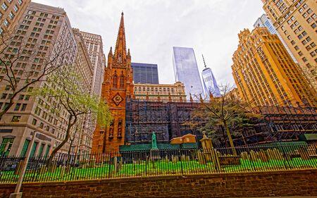 Street view on Trinity Church of Lower Manhattan reflex