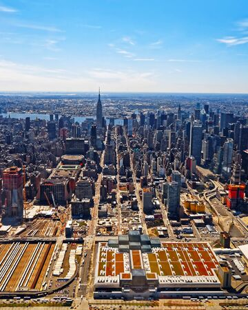 Magnificent aerial view of New York City reflex