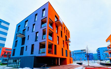 Colorful Modern residential apartment and flat buildings exterior Salzburg reflex