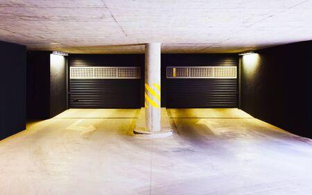 Architecture of modern European garage of residential quarter reflex 写真素材