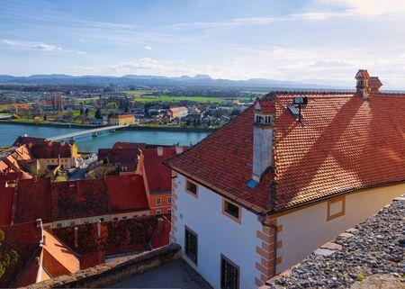 Cityscape from Ptuj Castle on Drava River in Slovenia