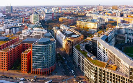 Aerial view and modern apartment residential building architecture Potsdamer Platz reflex Imagens