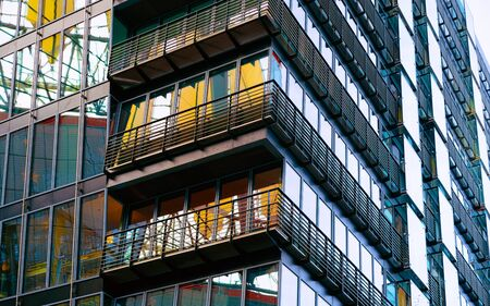 Modern balcony apartment house and business architecture Berlin reflex Imagens