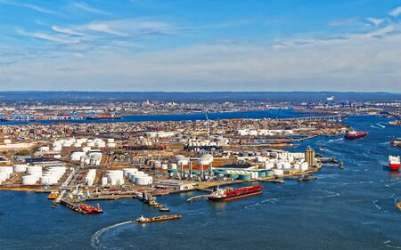 View of Port Newark and the MAERSK shipping containers in Bayonne reflex 写真素材