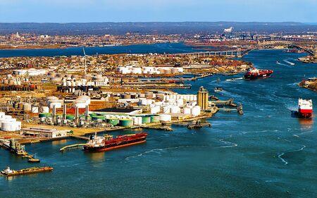 Aerial view on oil storages of Bayonne reflex