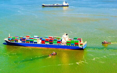 Aerial view of Bayonne Container Ship reflex