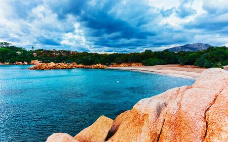 Rocky Capriccioli Beach of Costa Smeralda Sardinia Italy reflex