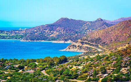 Landscape with coast at Mediterranean Sea in Villasimius reflex Standard-Bild