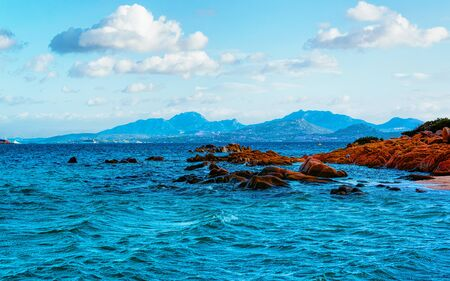 Rocky Capriccioli Beach Costa Smeralda Sardinia Italy reflex