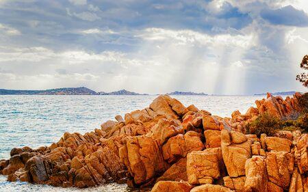 Capriccioli Beach in Costa Smeralda Sardinia Italy reflex