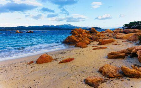 Rocky Capriccioli Beach in Costa Smeralda Italy Sardinia reflex