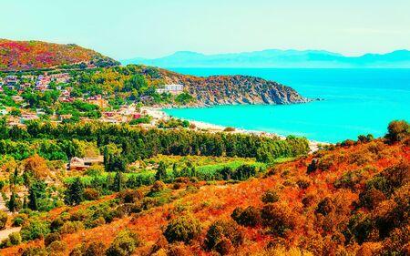 Villasimius Beach in Mediterranean Sea on Sardinia Island in Italy reflex Standard-Bild