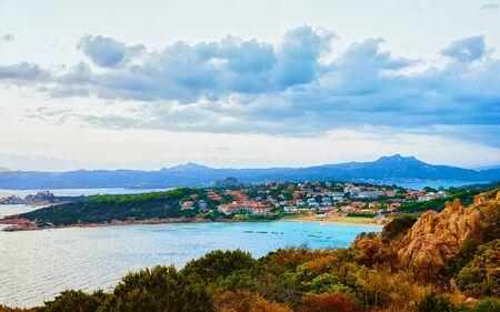 Sunset in Baja Sardinia Beach Costa Smeralda reflex