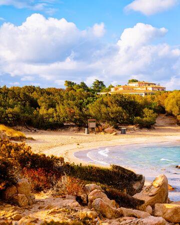 Romantic sunny sunrise in Capriccioli Beach of Costa Smeralda reflex