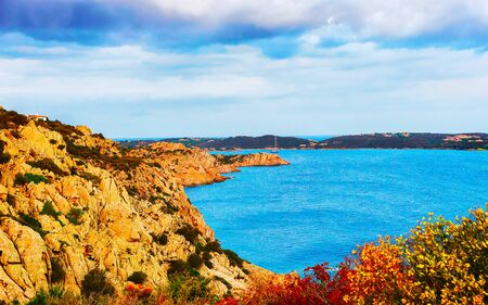 Nature of Capo Ferro on Costa Smeralda Sardinia reflex Standard-Bild