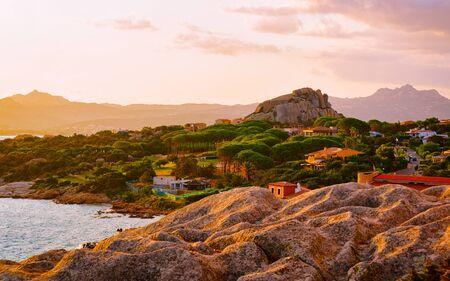 Baja Sardinia resort in Costa Smeralda at sunset reflex