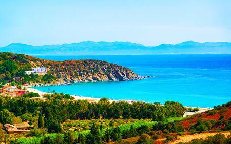 Coast at Mediterrenian sea Villasimius Cagliari South Sardinia reflex