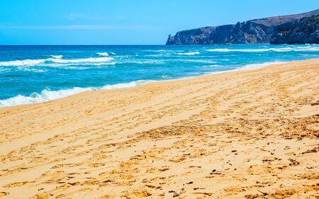 Beach near Mediterranean Sea in Buggerru in South Sardinia reflex Standard-Bild
