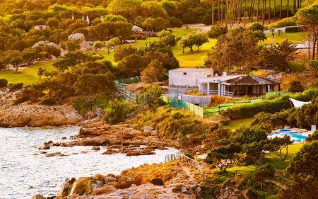 Landscape and scenery at Baja Sardinia luxury resort Costa Smeralda reflex Standard-Bild